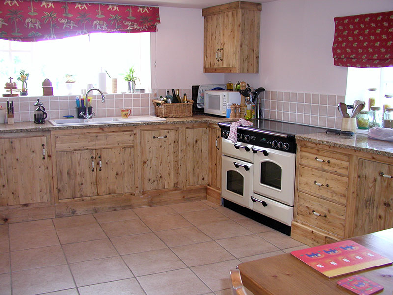 our rustic pine kitchens are made from traditional knotty pine for